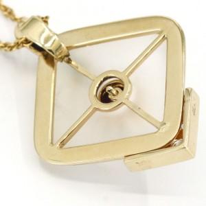 Amethyst Quartz Diamond Emerald Pendant Necklace in 14k Yellow Gold