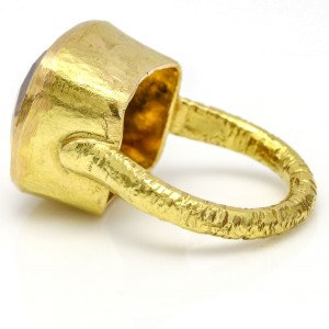 Fantasy Cut Citrine Cocktail Ring in 14k Hammered Gold
