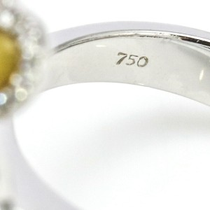 Yellow Mother of Pearl Diamond Hearts Ring in 18k White Gold