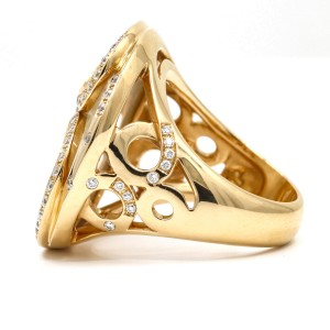 Mother of Pearl Diamond Fashion Ring in 18k Rose Gold Signed ( 1.00 ct tw )
