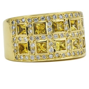 Yellow Sapphire and Diamond Wide Band Ring in 18k Gold ( 1.60 ct tw )