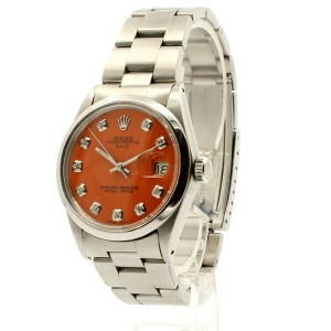 Mens Vintage ROLEX Oyster Perpetual Date 34mm ORANGE Dial Diamond Stainless
