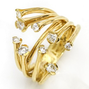 Skeleton Rib Cage Diamond Statement Ring in 18k Yellow Gold ( .75 ct tw )