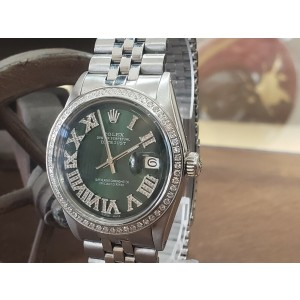 Mens Vintage ROLEX Oyster Perpetual Datejust 36mm Green Color Diamond Dial Watch