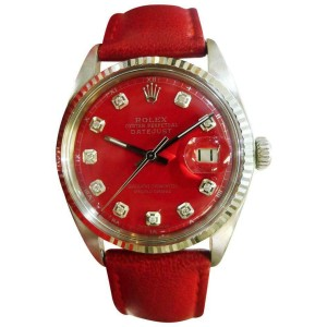 Mens Vintage ROLEX Oyster Perpetual Datejust 36mm RED Diamond Dial Watch