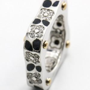 La Nouvelle Bague Diamond Enamel Cushion Band Ring in 18k White Gold