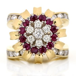 Ruby and Diamond Statement Ring in 14k Yellow Gold ( 2.40 ct tw )