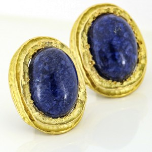 Frank's Sodalite Clip On Earrings in 18k Yellow Gold