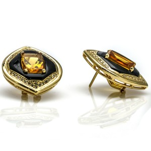 Women's Retro Citrine Onyx and Diamond Earrings in 14k Yellow Gold