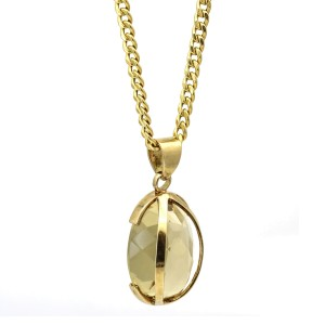 Oval Citrine Pendant Statement Necklace in 14k Yellow Gold