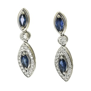 Sapphire and Diamond Dangle Earrings in 18k White Gold ( 2.50 ct tw )