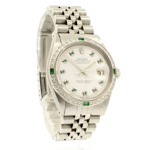 Mens Vintage ROLEX Oyster Perpetual Datejust 36mm White Dial Diamond Bezel Watch