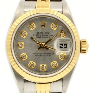 ROLEX Oyster Perpetual 18k & Steel Datejust 26mm SILVER Dial Diamond Watch