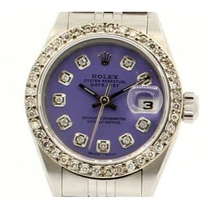Ladies ROLEX Oyster Perpetual Datejust 26mm PURPLE Dial Diamond Bezel Watch