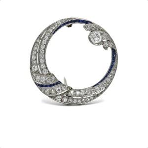 Hayden Wheeler Art Deco Diamond Sapphire Brooch in Platinum ( 2.50 cttw )