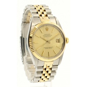 Mens Vintage ROLEX Oyster Perpetual Datejust 36mm 18k & Steel Gold Dial Watch