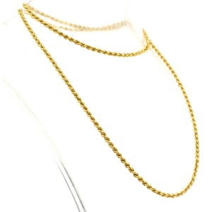 FINE ESTATE 18K YELLOW GOLD ROPE CHAIN NECKLACE 15.1 GRAMS