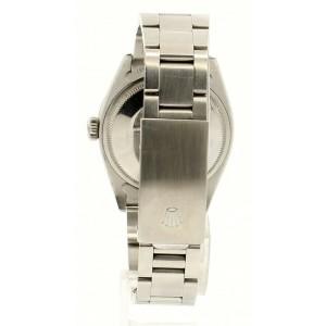 Mens Vintage ROLEX Oyster Perpetual Date 34mm Blue MOP Dial Diamond Steel Watch