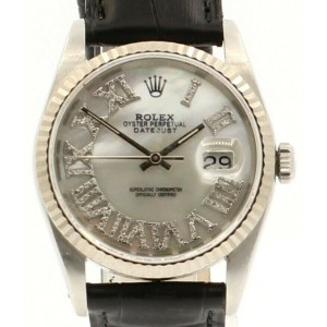 Mens ROLEX Oyster Perpetual Date 36mm White MOP Roman Dial Diamond Steel Watch