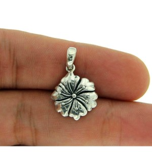 FREE SHIPPING! Solid Sterling Silver Beautiful Bali FLOWER Pendant»P219