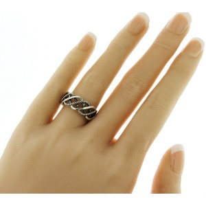 Unisex 925 Sterling Silver Open Woven Braid Wedding Band Ring 5-12
