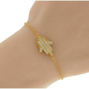 "▌Women's 925 Sterling Silver Yellow Hamsa Hand CZ Bracelet Size 6"" to 7"" »B220"
