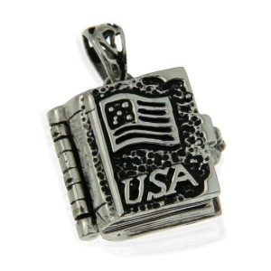Solid Sterling Silver 3D USA Flag & CROSS Locket Book Pendant » P33