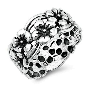 Women's 925 Sterling Silver Oxidized Flowers Band Ring Size 5-10