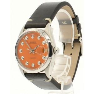 Mens ROLEX OysterDate Precision 6694 Stainless Steel Orange Dial Diamond Watch
