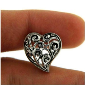 Solid Sterling Silver Cut Out Cluster HEART Pendant»P22