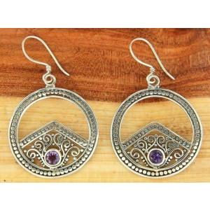 925 Sterling Silver Hoop Bezel Set Amethyst Scroll Swirl Earring» NEW!! E18