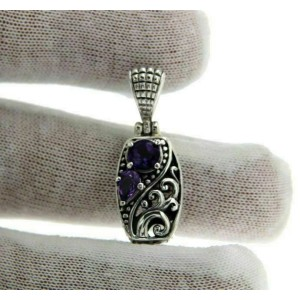 ¦Solid Sterling Silver Cut Out Cluster Amethyst Pendant FREE SHIPPING»  P44