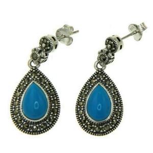 925 Sterling Silver Turquoise Marcasite Tear Drop Dangle Earring » E32