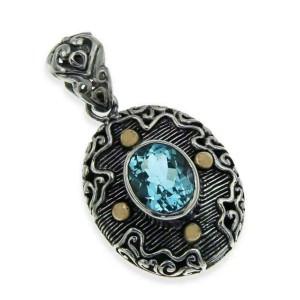 925 Sterling Silver & 14K Gold Blue Topaz Bali Pendant