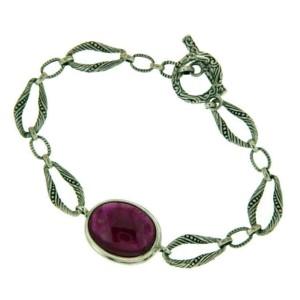 """925 Sterling Silver Oval Ruby Bali Bracelet Size 6 3/4"""" » B33"""