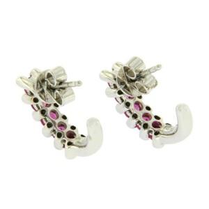 18K White Gold 0.28 CT Diamonds & 1.84 CT Pink Sapphire Huggie Earring »BL13