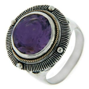 Solid Sterling Silver and 14K Amethyst Dome Ring » R24