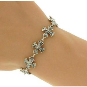 """¦Women's 925 Sterling Silver Bali Cross Bracelet Adjust Size 7 1/4""""&7 3/4 » B18"""