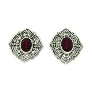 925 Sterling Silver Handmade Bali Ruby Earring » E222