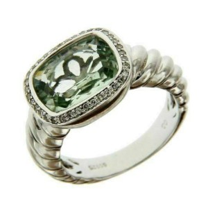 Solid Sterling silver Diamond & Green Topaz Designer Engagement Ring »R32