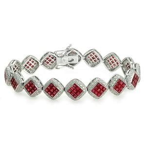 "13.60 CT Natural Ruby & 2.75 CT Diamonds 18K White Gold Bracelet 7.5"""