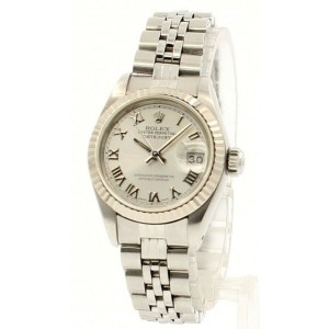 ROLEX Oyster Perpetual Datejust Steel 26mm Silver Roman Dial Watch