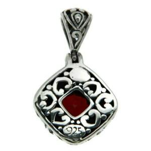 ¦Solid Sterling Silver Bali Bezel Set Red Garnet Pendant » P44 BRAND NEW!!