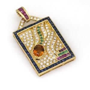 Gemstone Diamond Artsy Rectangular Pendant in 18k Yellow Gold ( 5.96 ct tw )