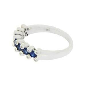 18K White Gold 0.16 CT Diamonds &0.86 CT Blue Sapphire Wedding Band Ring »BL113