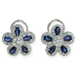 18K Gold 0.75 CT Diamonds & 2.66 CT Blue Sapphire Flower Earring »BL122