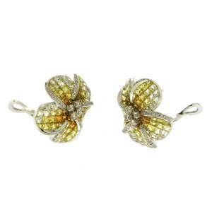 18K White Gold 0.38 CT Diamonds & 14.13 CT Yellow Sapphire Flower Earring »E3235