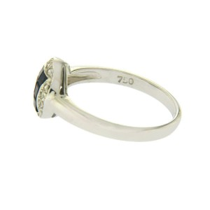 18K White Gold 0.09 CT Diamonds & 1.37 CT Blue Sapphire Engagement Ring »BL118
