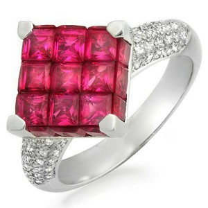 18K White Gold 0.45 CT Diamonds & Invisible 5.05 CT Ruby Square Ring »R1056