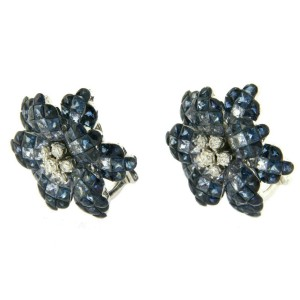 18K White Gold Diamonds & Invisible Set 34.26 CT Blue Sapphire  Earrings »BL3026